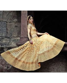 Light yellow embroidered lehenga with heavy border   1. Light yellow net lehenga2. Comes with unstitched blouse material and dupatta