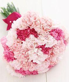 Pink Carnations (Carrie Bradshaw favorite flower) bouquet// http://www.realsimple.com/m/weddings/weddings-flowers/wedding-flowers-bouquets-supermarket/carnations-0
