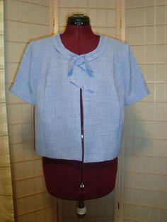Danny & Nicole Sz 12 Women's Periwinkle Blue Open Face Pleat Trim Suit Jacket #DannyNicole #BasicJacket