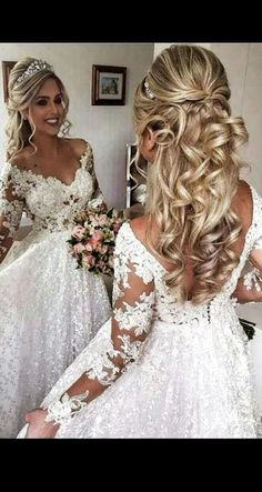 """Is """"poof"""" too big? Is """"poof"""" too big? Related Post 15 Elegant updo wedding hairstyles to inspire your. Love the neutral look with big lashes 18 Stylish Wedding Hairstyles to Brighten up Your . Wedding Hair Half, Elegant Wedding Hair, Wedding Hair Pieces, Wedding Hair And Makeup, Wedding Updo, Wedding Bride, Hair Makeup, Wedding Dresses, Wedding Hairstyles For Long Hair"""