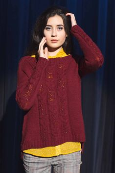 The Felicity Sweater by Andrea Cull features a cables-and-lace pattern the designer discovered in a Japanese stitch dictionary. The textural patterning enhances the sweater knitting pattern's oversized yet flattering fit. Cable Knitting, Sweater Knitting Patterns, Knitting Designs, Hand Knitting, Knitting Sweaters, Knitting Projects, Ravelry, Lace Patterns, Pulls