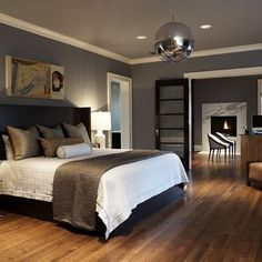 Dark Gray Master Bedroom Design. Love the mirror ball ;-)