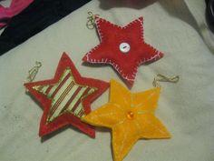 Decoração de Natal, estrelas em feltro