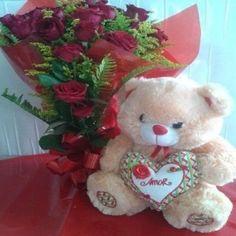 Buquê Rosas Vermelhas com Urso de Pelúcia