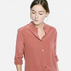 The Silk Rounded Collar - Red Clay – Everlane  Love the neckline of this one.