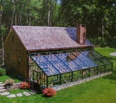 A greenhouse attached to the house how cool is that! #greenhousefarm #greenhousefarming