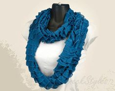 Real Teal Ruffled Knit Infinity Scarf by neckStyles by neckStyles, $27.00