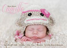 Monkey Hat- Birth Announcement