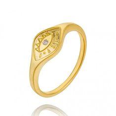 rings for women - signet rings - evil eye signet ring - engraved signet ring - cz gold ring - minimalist ring - women ring - 18k Gold Earrings, Tiny Earrings, Skull Earrings, Evil Eye Ring, Star Jewelry, Gold Jewelry, Ring Set, Thumb Rings, Delicate Rings