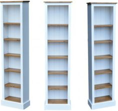 Details About Solid Pine Bookcase Cream Painted Waxed 6ft Tall Narrow Slim Jim Display Unit