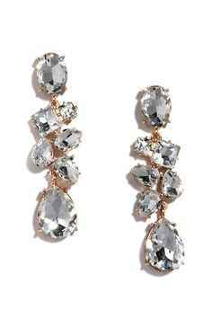 Bunch of Beauty Gold and Rhinestone Earrings at Lulus.com!