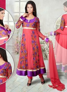 Brink Pink embroidered festival anarkali suit in Net fabric.