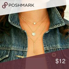 Delicate 3-Layer Tiered Gold Necklace Beautiful and Trendy! 3 layer tiered gold necklace with claw clasp Material: Alloy metals Features a circular crystal,  gold circular pendant and rectangular bar Boutique  Jewelry Necklaces