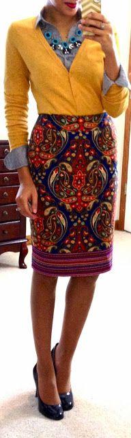 medium chambray + mustard cardi + patterned pencil skirt + navy pumps