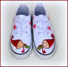 Items similar to Christmas Elf Shoes, Kids Canvas Elf Sneakers, Gift for Kids, Christmas Elves Gift on Etsy Painted Canvas Shoes, Custom Painted Shoes, Painted Sneakers, Painted Clothes, Christmas Shoes, Holiday Shoes, Kids Christmas, Christmas Gifts, Holiday Crafts
