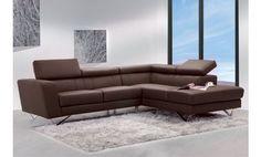 Sofá chaise longue a la derecha reclinable en piel grabada