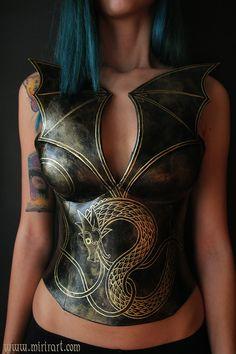 Norse Dragon fantasy corset overbust larp by MirirArtSteampunk