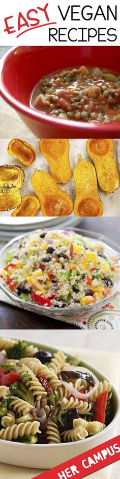 8 Easy Vegan Recipes You NEED To Try! I was super excited when I found this on Pinterest. These recipes are really easy and healthy.