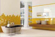 Badezimmer dekorieren ideen mit weiß gelb bad fliesen und installieren freistehend badewanne und waschtischplatte holz bad für moderne minimalistische badezimmer design