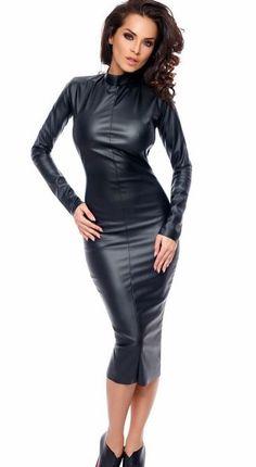 "jjobar: ""So elegant, uber stylish, fab and sexy… Perfect 👌 "" Hobble Skirt, Leder Outfits, Black Leather Dresses, Stunning Women, Beautiful, Tight Dresses, Sexy Legs, Leather Fashion, Dress Skirt"