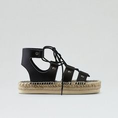 AE Strappy Espadrille Sandal ($40) ❤ liked on Polyvore featuring shoes, sandals, black, braided strap sandals, black espadrilles, black strappy shoes, woven sandals and flatform espadrilles