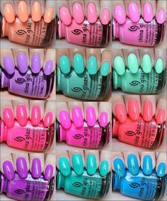 China Glaze Sunsational Collection (Click through for in-depth Do It Yourself Nails, How To Do Nails, Spring Nail Colors, Spring Nails, Bright Summer Nails, Swatch, China Glaze Nail Polish, China Glaze Neon, Hot Nails