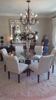 Elegant Dining Room Set – Home Interior Design Ideas Dining Room Design, Dining Room Table, Dining Rooms, Dinning Room Chandelier, Dinning Room Table Decor, Glass Round Dining Table, Elegant Dining Room, Round Tables, Elegant Home Decor