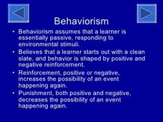"""Behaviorism Theory of Learning """" Teachers must learn how to teach . they need only to be taught more effective ways of teaching. Skinner By: Brittane… Psychology Notes, Psychology Student, Always Be Positive, Positive And Negative, Linguistics Study, Philosophy Theories, Operant Conditioning, Learning Theory, Positive Reinforcement"""