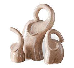 Kiev Modern Ceramic Elephant Sculptures- Set of three