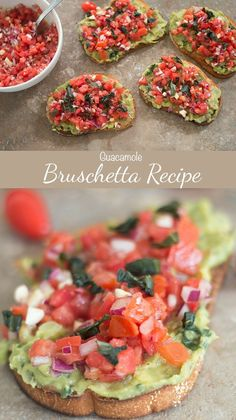 Bruschetta with Guacamole: this fresh and easy toast makes the perfect snack, breakfast or even light lunch! You will love this delicious flavor mash up. | Vegan & Vegetarian Appetizer