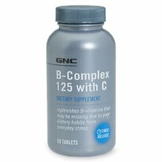 GNC B-Complex 125 with C, Tablets, 60 ea by AB. $24.99. GNC B-Complex 125 with C, Tablets 60 ea. Replenishes B-vitamins that may be missing due to poor dietary habits from everyday stress. Potencies verified by GNC procedure #5103.  Conforms to USP <2091> for weight.  Disintegrates over 5 hours for timed-release benefit.  No sugar.  No starch.  No artificial colors.  No artificial flavors. No preservatives. No wheat. No gluten. No corn. No soy. No dairy. Yeast free.    ...