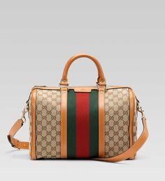 Gucci Vintage Web Medium Boston Bag Beige Shoulder Handbags Online Bags