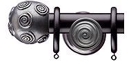 Regency Emperor 35mm & 48mm Black Curtain Pole, Swirl