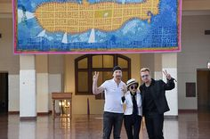 Peter Sis Banner on Ellis Island John Lennon Memorial The Edge, Yoko Ono and Bono