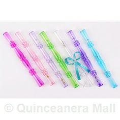 Plastic Tube Invitations Star Aqua Scroll Quincenera