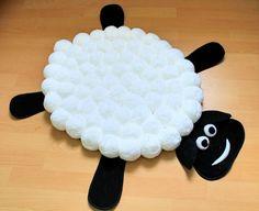 Children Pom Pom Rug - Pompom Carpet - Pompon Rug - Nursery Decor - White - Black - Animal Rug - Handmade Rug - Funny Kids Rug - Sheep pom
