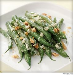 Tender-crisp green beans tossed with creamy blue cheese and topped with toasted walnuts pair well with beef or poultry. Blue Cheese Green Beans. #HealthyHolidays