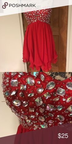 Knee Length Dress with Red Gems