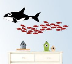 School of  fish with a whale vinyl wall decal by wallinspired, $45.00