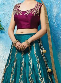 Turquoise Blue Raw Silk Lehenga Choli ,Indian Dresses - 2