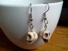 Bone+White+Sugar+Skull+Earrings+Howlite+by+RukaDoll+on+Etsy,+$8.95