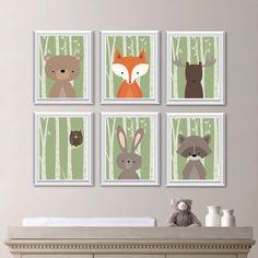 Baby Boy Nursery Art Woodland Decor Forest Animals Friends Bedroom Ns 739