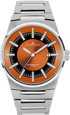Jacques Lemans 1-1334D Men's Watch Nevada Stainless Steel Orange-Black Dial