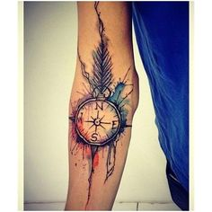 Pretty Watercolor Sleeve Tattoos For Girls ❤ liked on Polyvore featuring tattoos