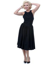 Queen of Heartz Black Olivia Swing Dress - Unique Vintage - Prom dresses, retro dresses, retro swimsuits.