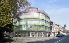 appartementsgebouw brasschaat - glazen balustrades groen getint - 7 appartementen en 2 commerciële ruimten