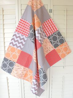 Baby Blanket - Unisex Patchwork Baby Blanket - Coral, Peach and Gray Chevron via Etsy