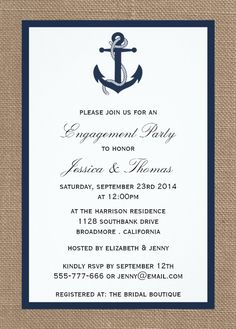 Nautical Engagement Invitation - Navy Blue Anchor On Burlap. Perfect announcement for an engagement party on the beach or by the ocean. Personalize online! More at http://superdazzle.com