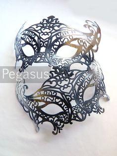 Noir et argent mascarade masque base (1 masque) bricolage Ballroom mascarade masque pour un Mardi Gras, Halloween, mariage, nouvel an ou fêt...