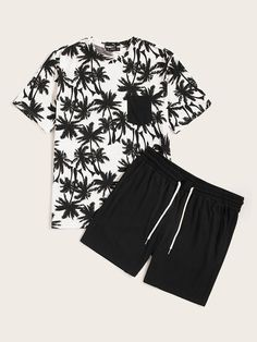 To find out about the Men Pocket Patch Coconut Tree Tee & Shorts Set at SHEIN, part of our latest Men Two-piece Outfits ready to shop online today! Dope Outfits For Guys, Swag Outfits, Short Outfits, Boy Outfits, Casual Outfits, Men Casual, Fashion Outfits, Fashion Trends, Men Street